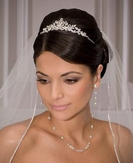 wedding hair with veil and tiara..  Though this is up and I thought I wanted down.. I like it.