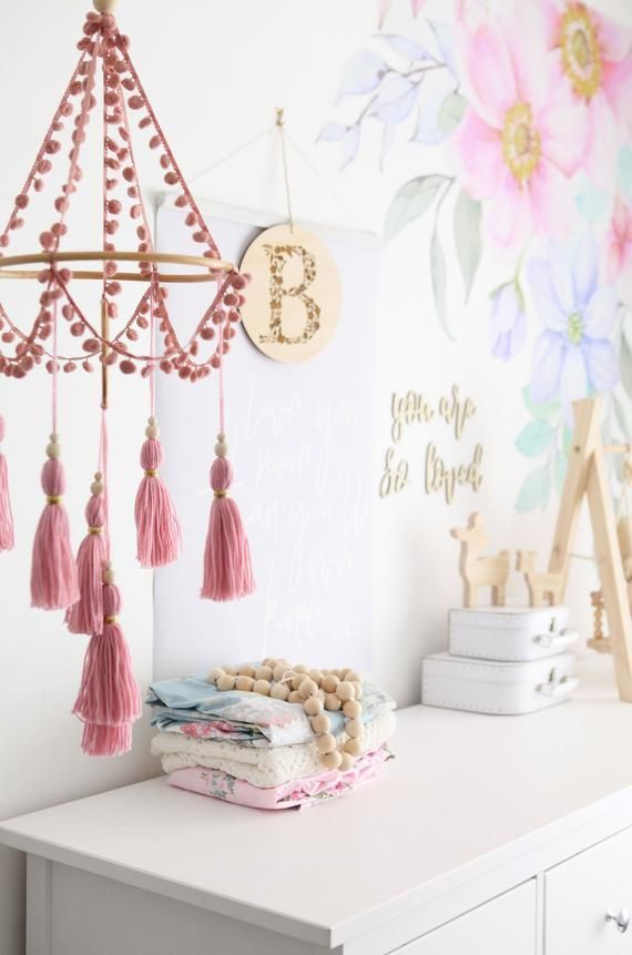 Pink mobile, boho nursery decor, baby mobile, crib…