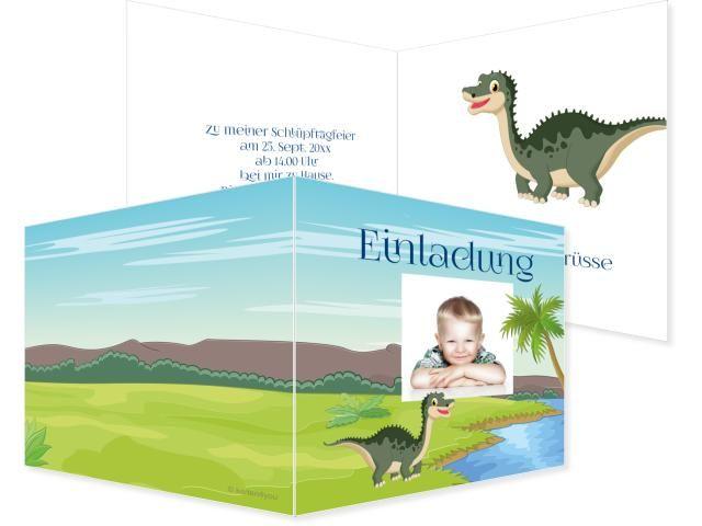 Dinostark Klappkarte links 4-seitig 210x100mm grün, Geburtstag, Einladungskarten, Geburtstagskarten, Kindergeburtstag, Kids, Birthday,  Party, Birthdayparty