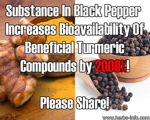 Substance In Black Pepper Increases Bioavailability Of Beneficial Turmeric Compounds by 2000 percent