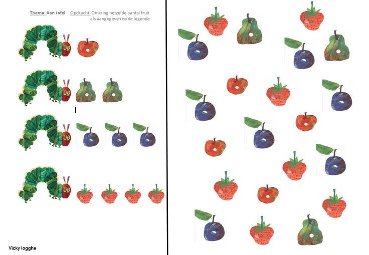 werkblaadje rupsje nooit genoeg: omkring rechts evenveel stukken fruit zoals aangegeven   Afspraak: voor elk fruit een andere kleur
