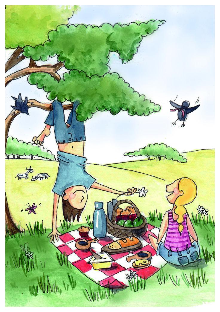 Picknick breakfast, watercolor Student work Berghs SoC ©lisablom