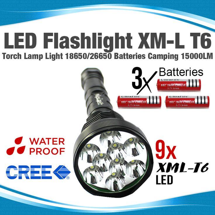 Flashlight 9X LED CREE XM-L T6 Torch Lamp Light 18650/26650 Batteries Camping 15000LM