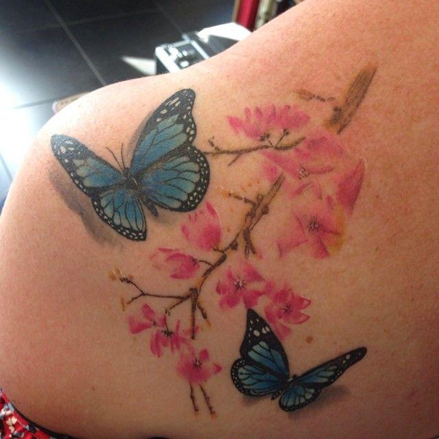 Cherry Blossoms & Butterflies Tattoo