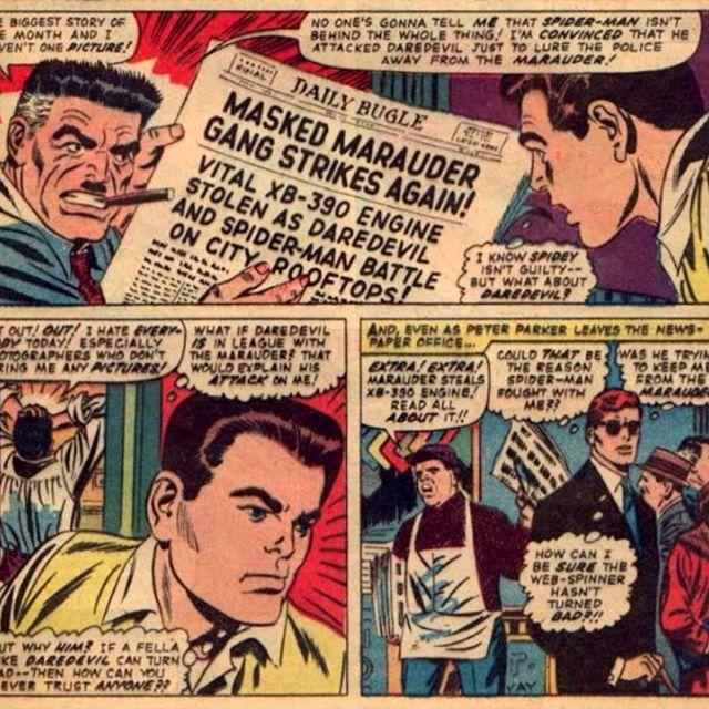 #AssolutiRelativi di #MaxBruno - Nuvole 2.0: #fumetti e #supereroi, una tavola degli anni '70 in cui compaiono nella stessa avventura Peter Parker (alias #spiderman), J. J. Jamenson e, in basso a destra, Matt Murdock (alias #daredevil) - https://www.amazon.it/NUVOLE-2-0-contemporaneo-supereroi-mainstream-ebook/dp/B01CWCCQC8 -