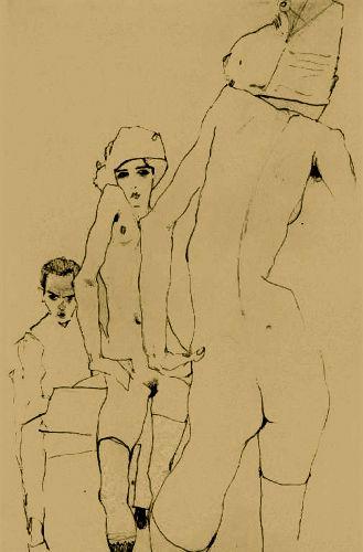 Desenhando a modelo frente ao espelho, de Egon Schiele (Austria, 1890-1918)