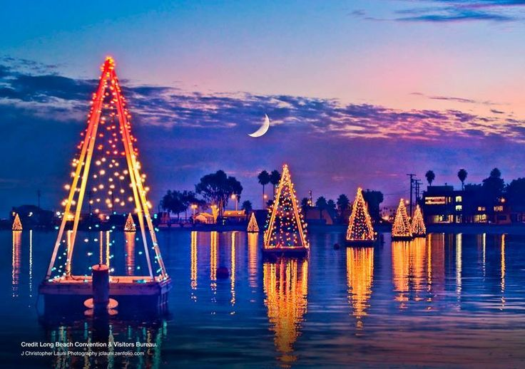 "The ""Floating Christmas Trees"" of Long Beach adorn"
