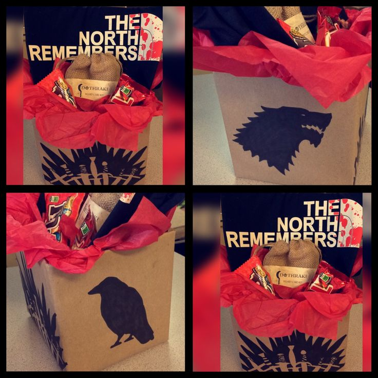 Diy Game of Thrones gift box. Wrap a box in brown paper. Draw or trace house sigils/crows/etc. Fill with red tissue paper, add GOT tee, favorite candy, and beard oil kit (LussoSapone found on etsy is pictured here). You can print a piece of paper with Dothraki beard kit and stain it to look dirty. I used coffee. Cut to size and tape to the bag.