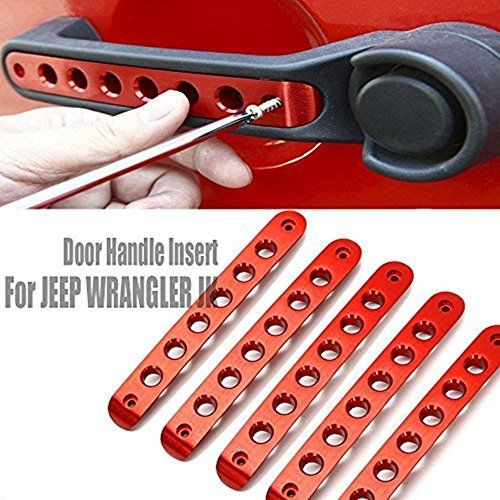Opall Front Door & Back Door Aluminum Grab Handle Cover For 2007 - 2016 Jeep Wrangler JK & Unlimited 4 Door 5pcs/set (Red)