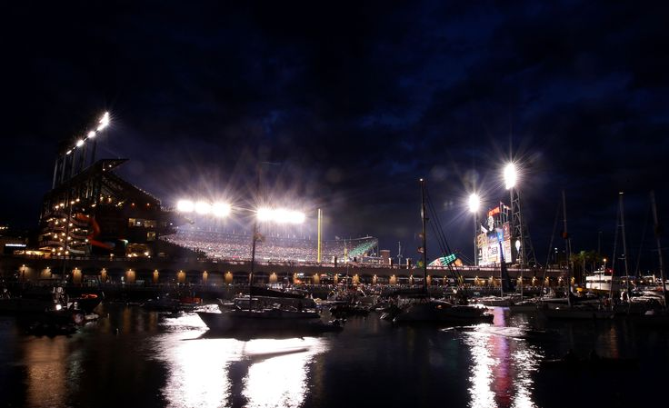 Night view of ATT Park from the San Francisco Bay, home of the Giants.