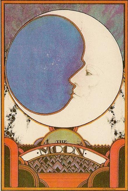 "design-is-fine: ""David Palladini, moon illustration for Aquarian Tarot, 1970. USA. """