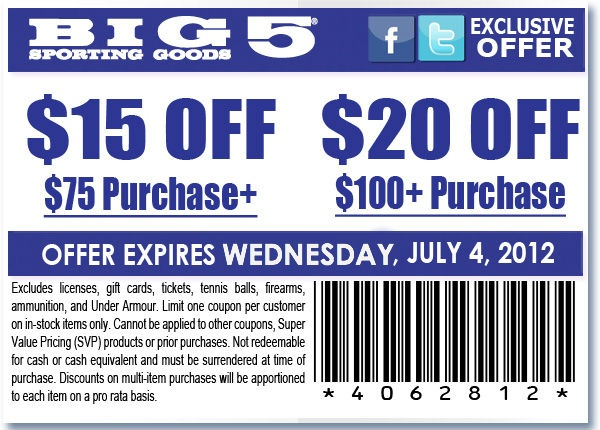 Big 5 coupons december 2018