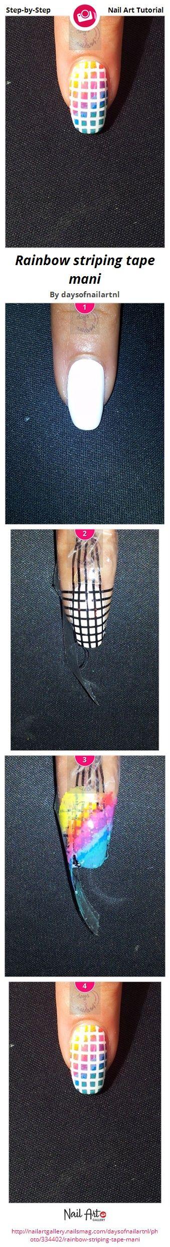 Rainbow striping tape mani by daysofnailartnl - Nail Art Gallery Step-by-Step Tutorials nailartgallery.nailsmag.com by Nails Magazine www.nailsmag.com #nailart