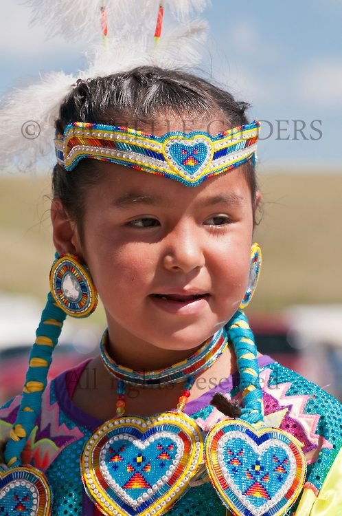 Young Blackfoot girl in traditional regalia, Siksika Nation Pow-wow, Gleichen, Alberta, Canada, photo by Michelle Gilders
