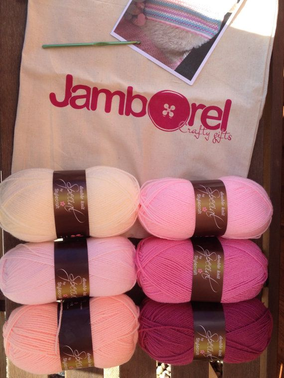 Complete kit to make a crochet granny stripe blanket  by Jamborel