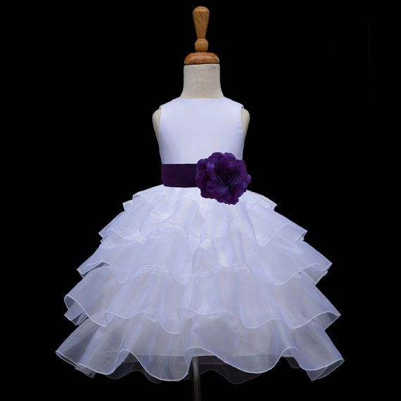 White organza Flower Girl dress sash pageant wedding bridal children bridesmaid toddler elegant sizes 12-18m 2 2t 3t 4 5t 6 6x 8 10 #308t