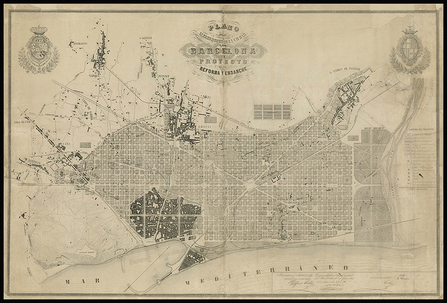 Cerda's famous 1859 grid layout for Barcelona, Spain.