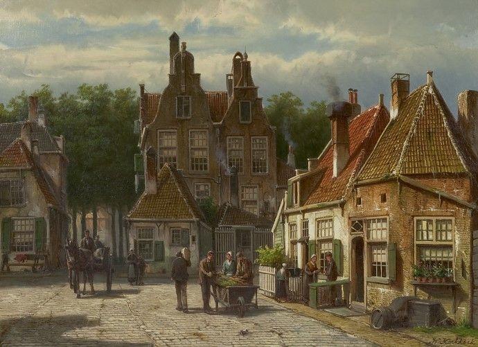 Willem Koekkoek (Amsterdam 1839-1895 Nieuwer-Amstel (thans Amstelveen)) Dorpsbewoners op een zonnig plein - Kunsthandel Simonis en Buunk, Ede (Nederland).