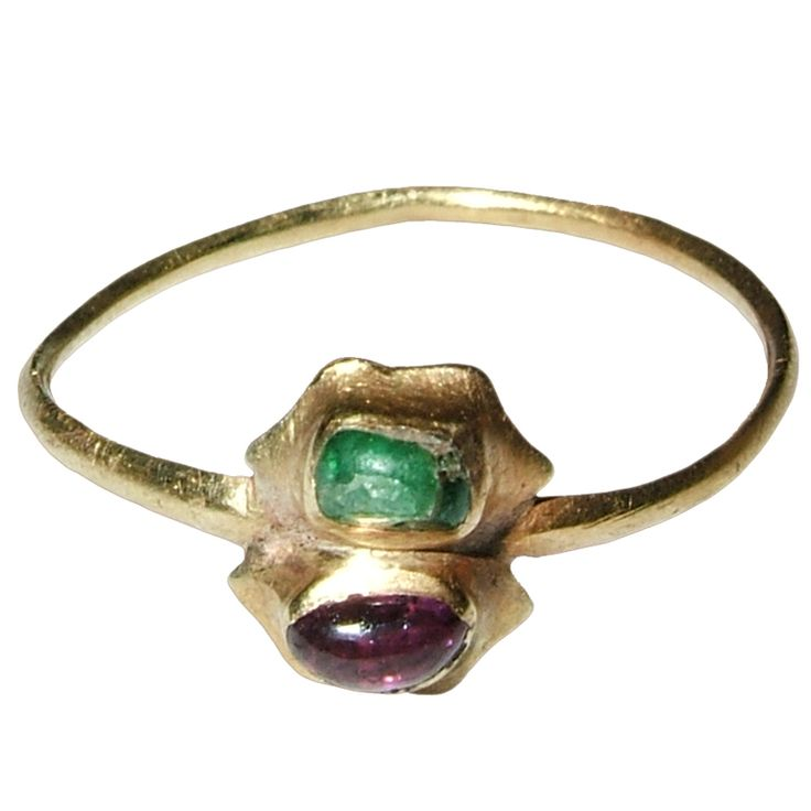 Medieval Tart Mold Ring - Hexagonal twin bezel set with an emerald and a ruby, in the shape of a tart mold; 14th - 15th century, Western Europe