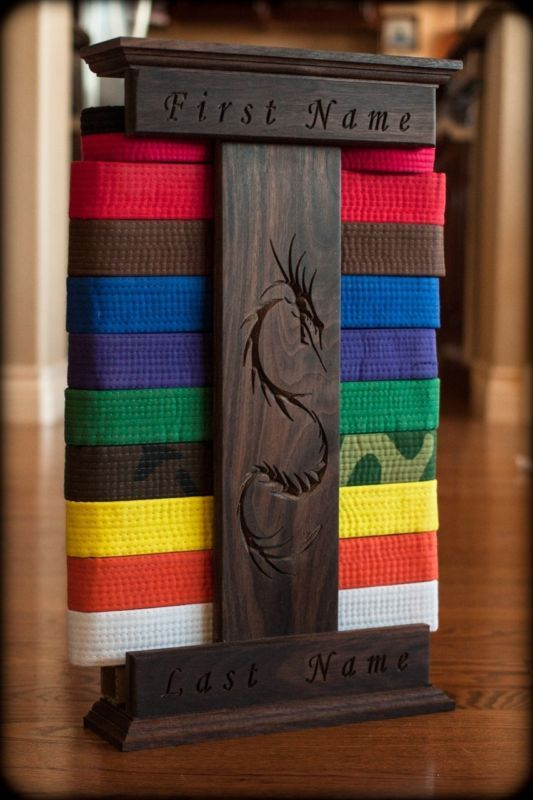 Personalized Dragon engraved Karate belt display / holder (Walnut)
