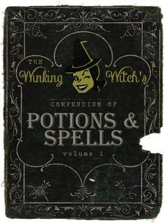 "free printable spell book cover ""Winking Witch's Potions & Spells"" at craftaholicsanonymous.net"