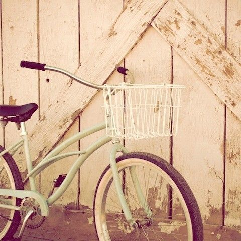 """Mint Bicycle, vintage, bicycle, summer, cycle, basket, blue, teal, travel, beach cruiser, charm, country living, fine art photograph 5""""x5"""" on Etsy, $12.00"""