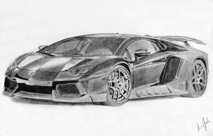 Lamborghini Aventador Black And White Drawing