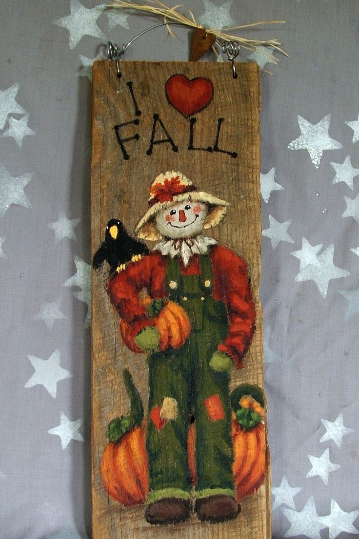 "I Love Fall, scarecrow hand painted on barnwood, 5"" x 14"" by SuzysSantas on Etsy https://www.etsy.com/listing/205776116/i-love-fall-scarecrow-hand-painted-on"