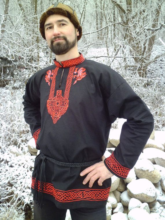 Medieval shirt Black Falcon; shirt with embroidery