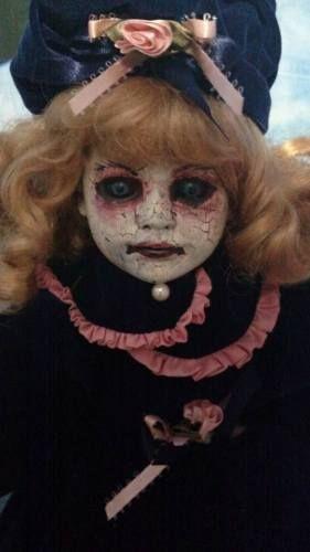 Decoración de Halloween Horror repintado OOAK Zombie Dama Chica Fantasma Vampiro Bisque