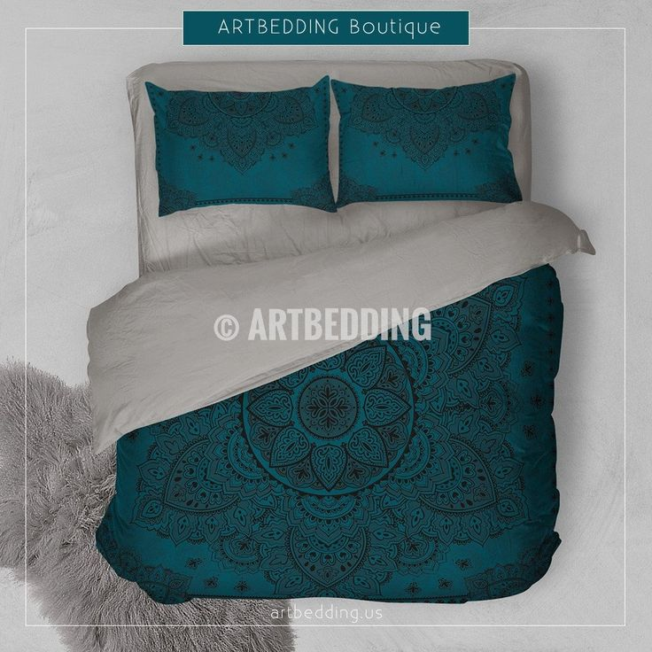 Mandala bedding, Dark teal bohemian bedding, Teal and gold boho bedroom decor, bohemian style bedroom decor ideas, artbedding For this design I used 2 shades of teal that is one of the top trends for S/S 2017. I selected stunning henna mehendy Indie Lotus mandala in black as a main element that would give the desired Ethno Bohemian look with a bit of spiritual feel to it. Beutiful Indie Mehendy floral elements are also added to the background for an overall finished look.