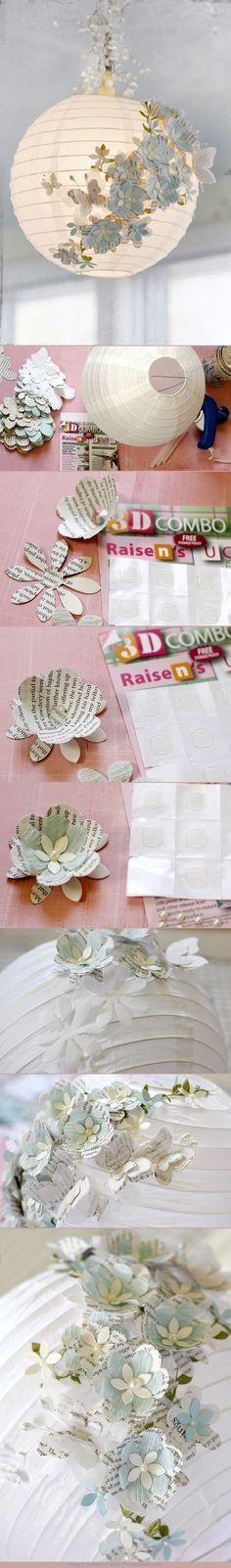 DIY 3D Lâmpada de papel.