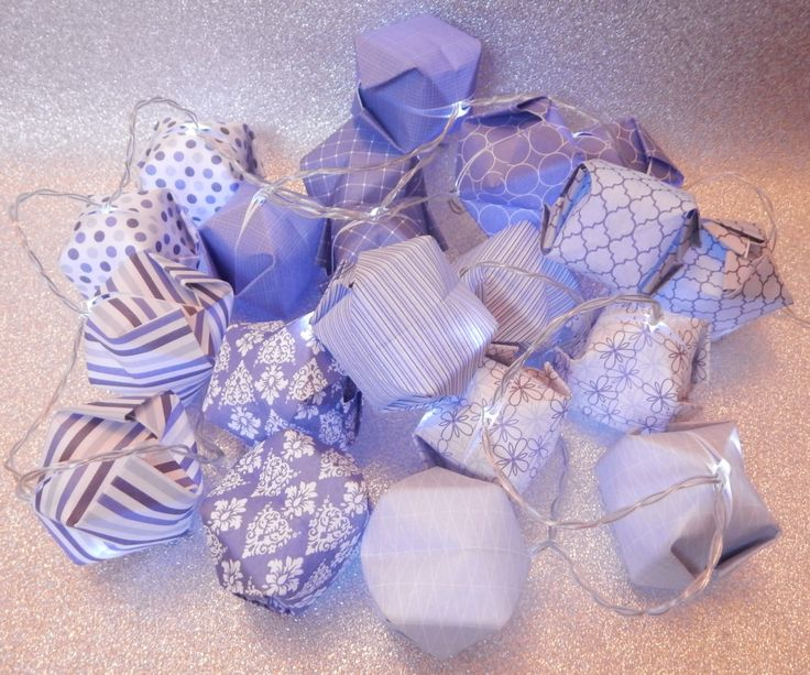 Sing the Blues Origami Fairy Light Lanterns LED 20 String Lights Battery Operated Gift Home by bigmabelpaper on Etsy