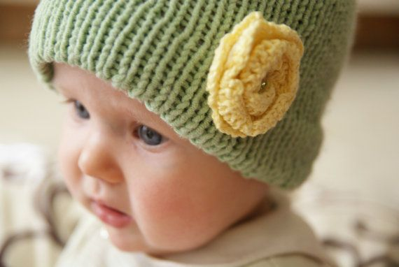 green hat with yellow flower toddler green hat by BambinoStore