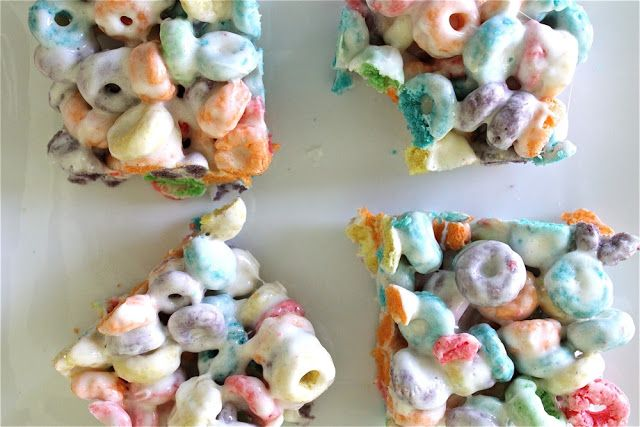 FRUIT LOOP TREATS.... 1/4c butter, 1pkg small marshmallow(about 6c), 8c fruit loops.......Microwave marshmallows & butter in large bowl 2mins till melted & stir it up.  Some of the butter may not mix-in all the way.  No worries. Pour in the cereal and mix. Spread it on cookie sheet that has been sprayed w/non-stick spray or butter.  Spray a little on your hands to help spread it around w/o getting sticky goo all over you. Allow to cool before cutting into squares.
