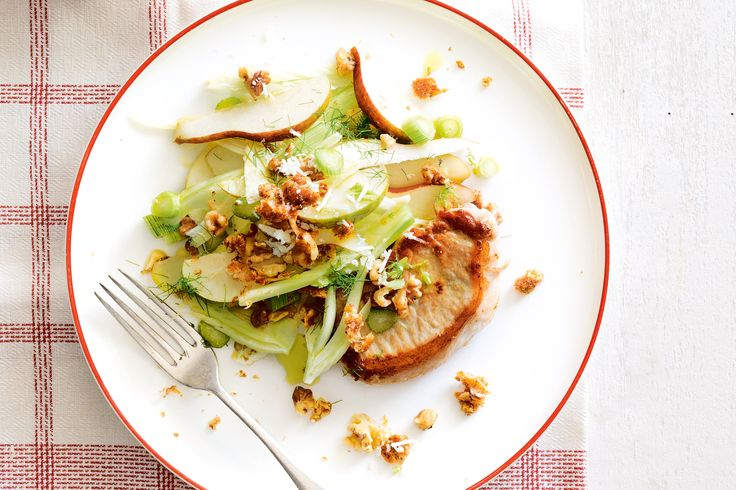 Pork with pear and fennel salad and walnut crumble With pears for sweetness and walnuts for crunch, this quick and easy pork dish is the perfect mid-week meal.