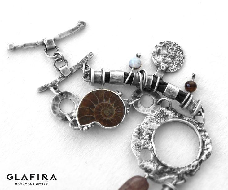 Quartz, Ammonite, Genuine Leather and Sterling Silver Bracelet. Bracelet №022 Серебро, агаты, аммонит, кожа. Silver, agate, ammonite, leather.