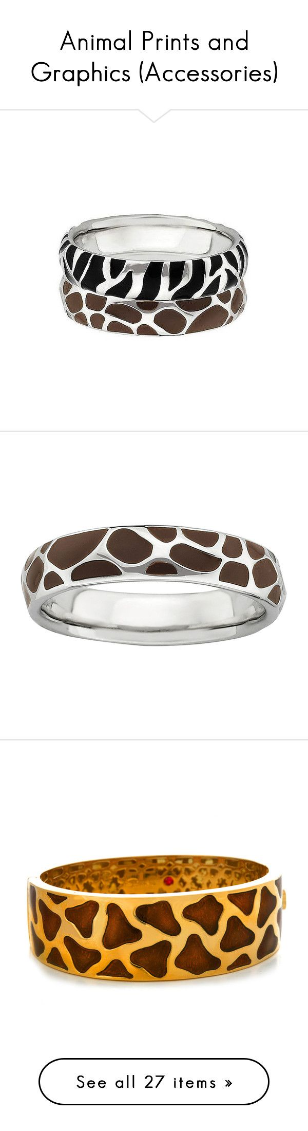 """""""Animal Prints and Graphics (Accessories)"""" by vlmhark ❤ liked on Polyvore featuring jewelry, rings, black jewelry, zebra ring, stackable rings, kohl jewelry, zebra jewelry, giraffe jewelry, animal print jewelry and enamel ring"""