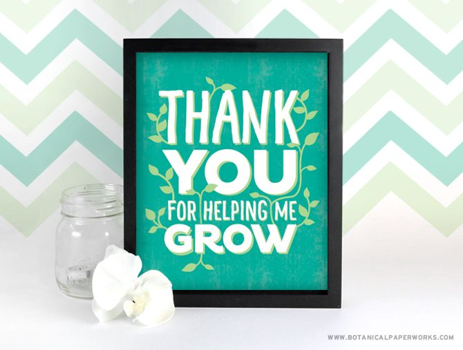 This beautiful FREE printable wall art is the perfect way to thank the teachers that help our children grow everyday.