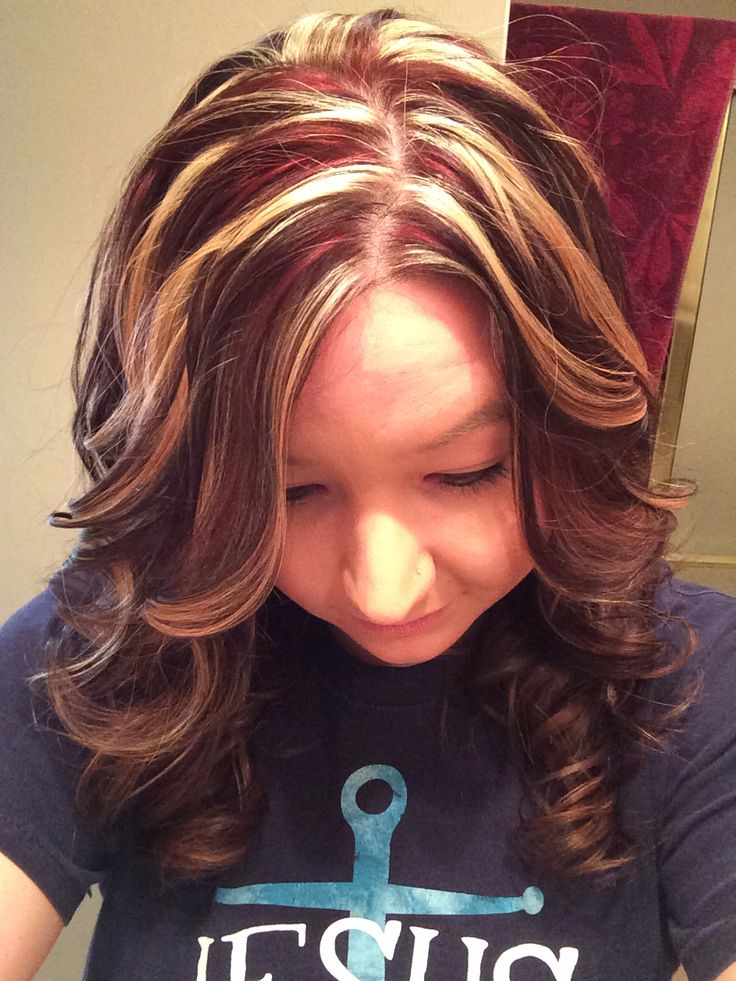 Red brown and blonde highlights. :)   Hair   Pinterest - photo#43