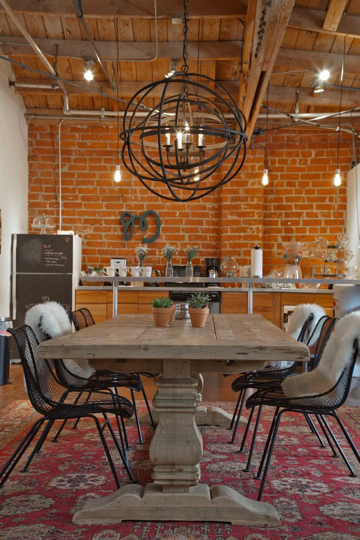 Chunky Dining Table + Wire Chairs + Amazing Pendant // Mulu's Creative + Vintage Collective Den Office
