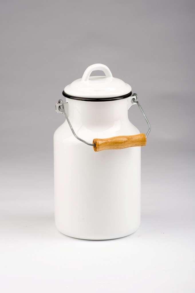 Emaillierte Milchkanne 2 Liter weiß