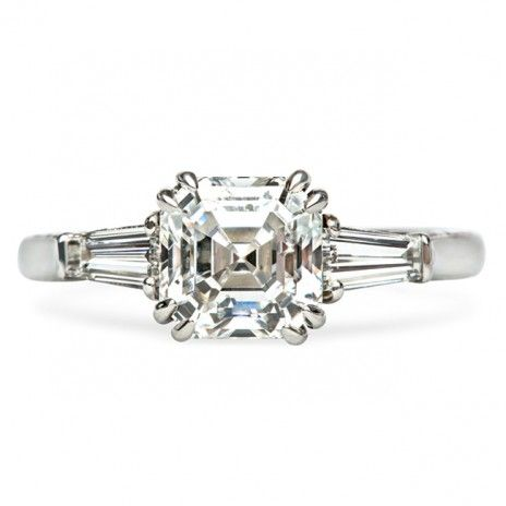 Vintage Inspired Classic Asscher Cut Engagement Ring