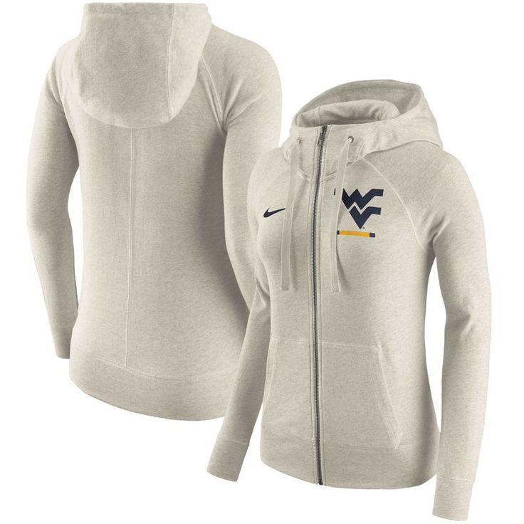 West Virginia Mountaineers Nike Women's Gym Vintage Full-Zip Hoodie - Cream