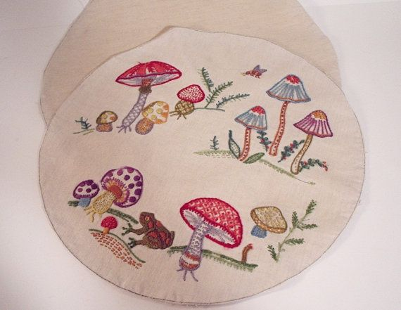 Vintage Pillow Slipcover, round pillow front and back with hand stitched embroidered mushrooms and frog