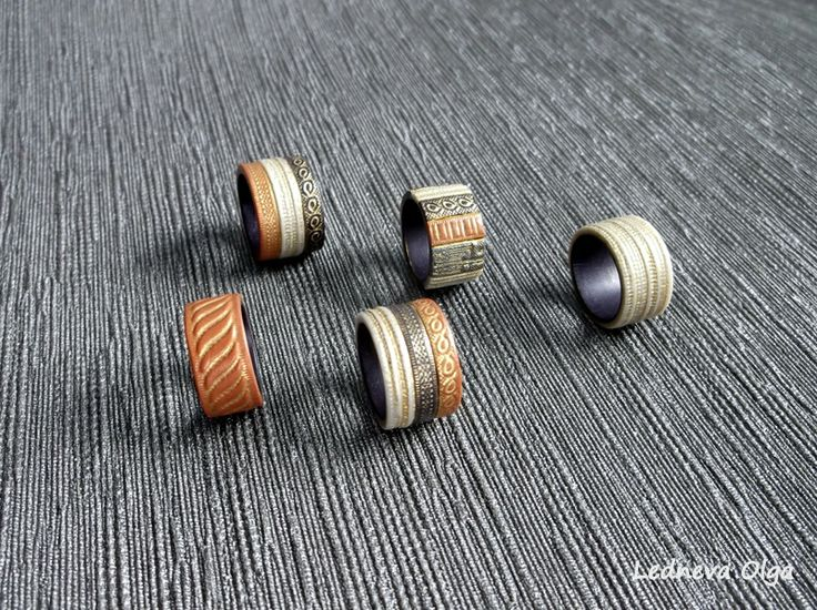 rings made of polymer clay.