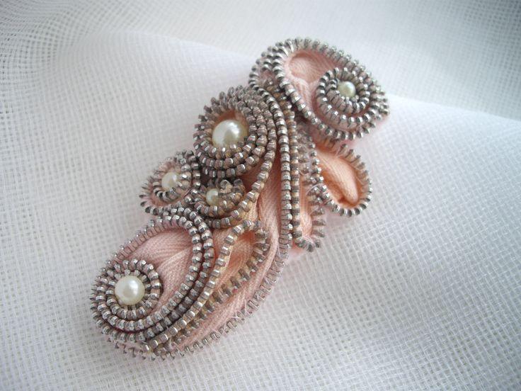 Pink Zipper Statement Brooch Abstract Design Vintage Handmade by handcraftusa. $27.99, via Etsy.