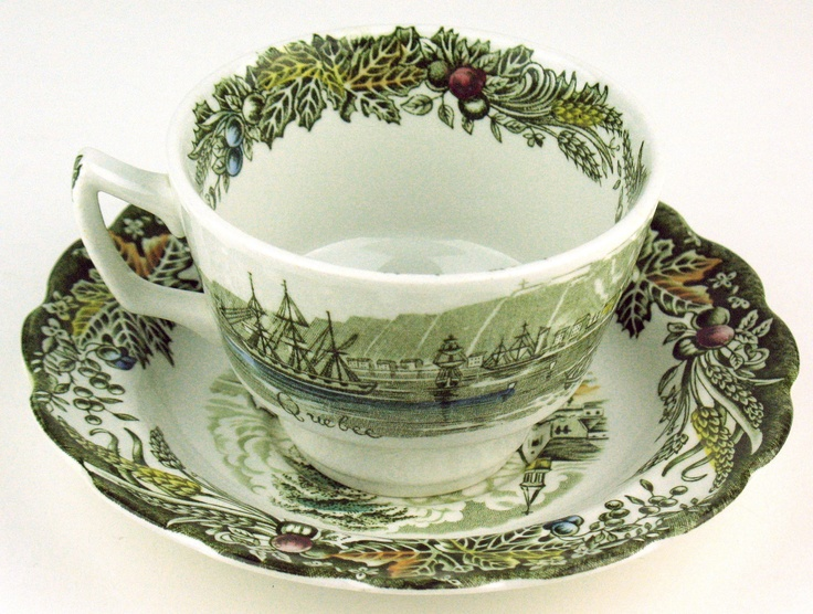 """Heritage pattern by Ridgway Pottery - Cup & Saucer. The cup is 2 1/2"""" tall and the sketch is Quebec. The saucer is 5 3/4"""" and the sketch is Village of Cedars"""