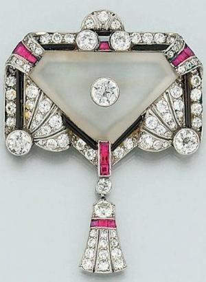 Art Deco Diamond, Ruby, Onyx & Rock Crystal Brooch 1925.