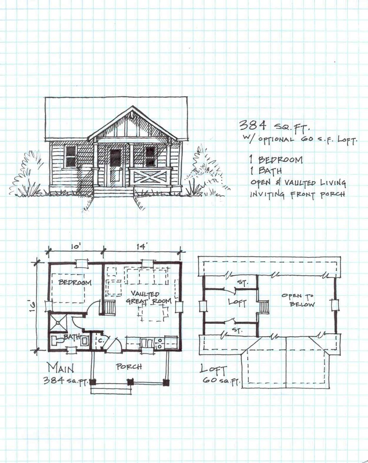 Garden cottage e one level with loft tiny living for Backyard cottage floor plans